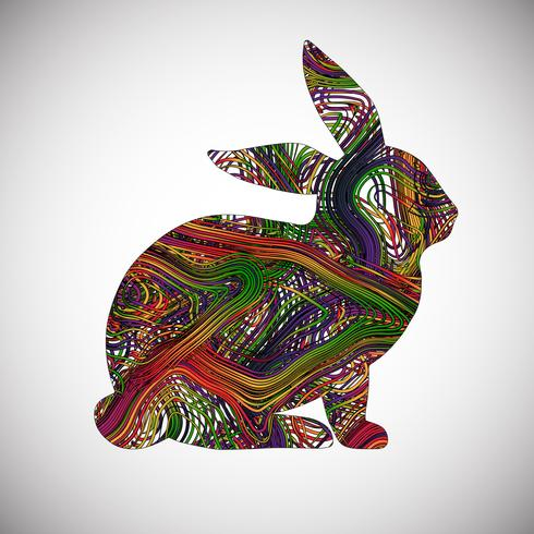 Colorful rabbit made by lines, vector illustration