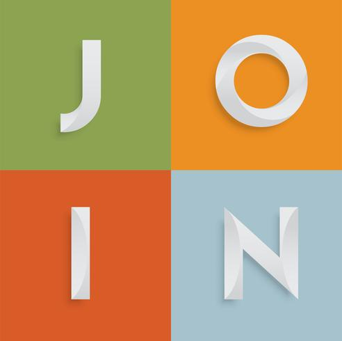 'UNISCITI' una parola di quattro lettere per siti Web, illustrazione, vettore