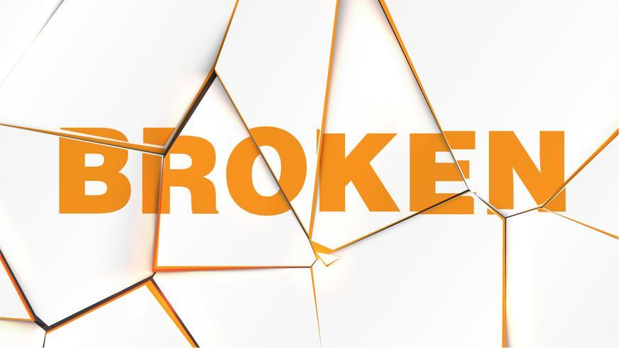Mot de 'CASSÉ' sur une surface blanche brisée, illustration vectorielle