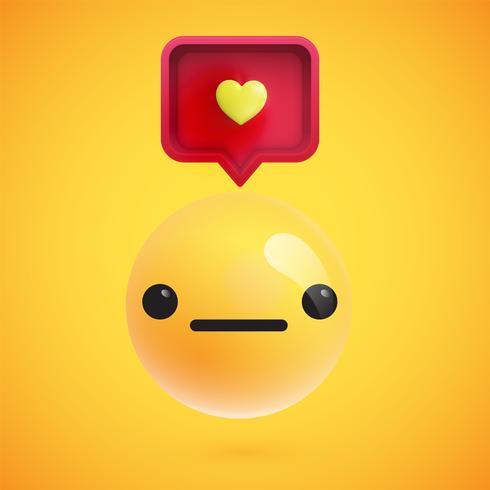 Alta emoticon dettagliata con un segno di cuore, illustrazione vettoriale