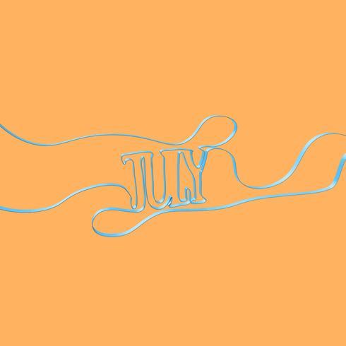 Forme di carattere del nastro 'luglio', illustrazione vettoriale