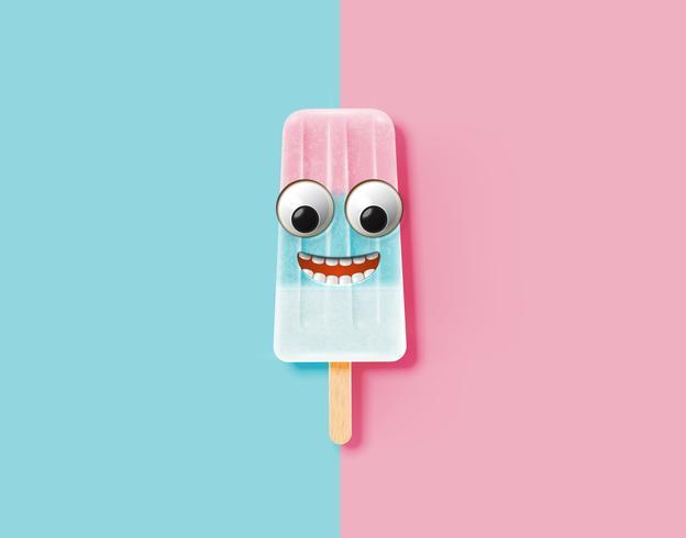 Emoticon engraçado na ilustração realista de sorvete, ilustração vetorial