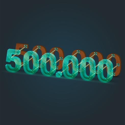 Número realizado por vidrio y madera, vector.