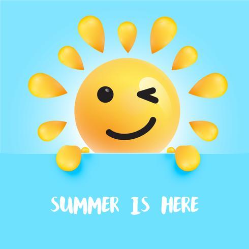 """Engraçado sol-smiley com o título """""""" o verão está aqui """", ilustração vetorial vetor"""