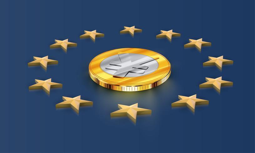 European Union flag stars and money (yen/yuan), vector
