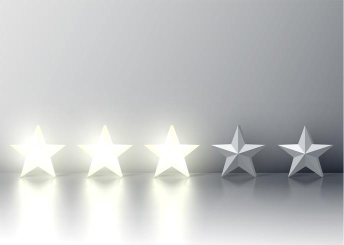Trois étoiles avec des étoiles 3D rougeoyantes, illustration vectorielle vecteur