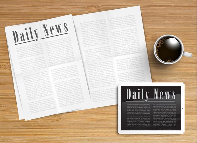 Realistische krant met een tablet en een kopje koffie, vector