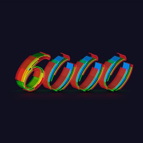 Colorido personaje 3D de un conjunto de fuentes, vector