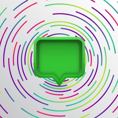 Bolha do discurso 3D realista com círculos coloridos, ilustração vetorial vetor