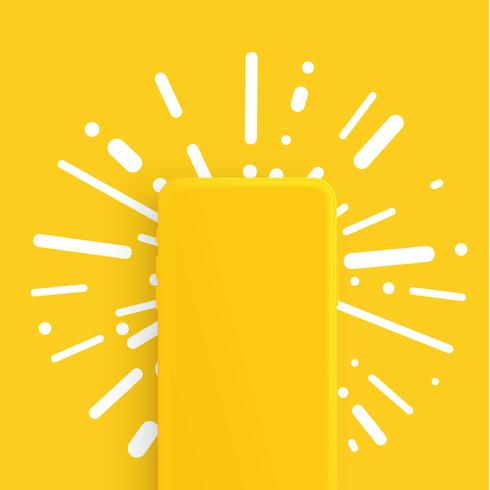 Teléfono inteligente mate realista con colores de fondo, ilustración vectorial