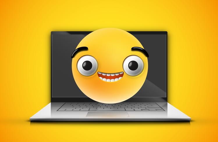 Hoch-ausführlicher Emoticon auf einem Notizbuchschirm, Vektorillustration