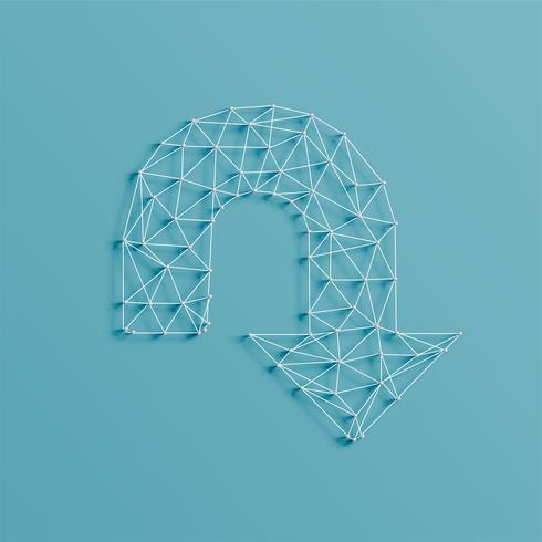 Une flèche faite de lignes et de broches, 3D réaliste, illustration vectorielle