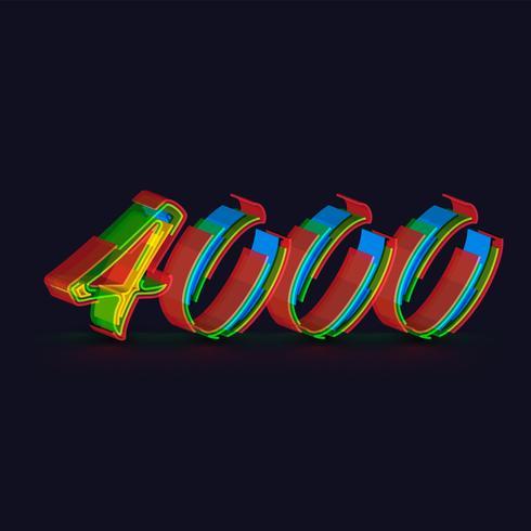 Personnage coloré 3D à partir d'un jeu de polices, vecteur