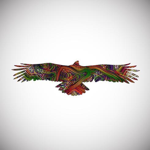 Águila colorida hecha por líneas, ilustración vectorial