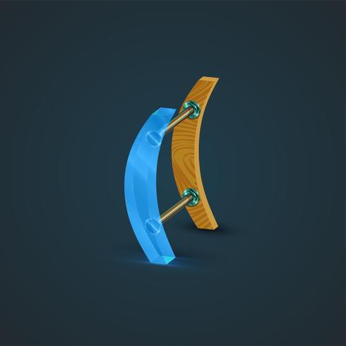 3D, cristal realista y carácter de madera, vector.