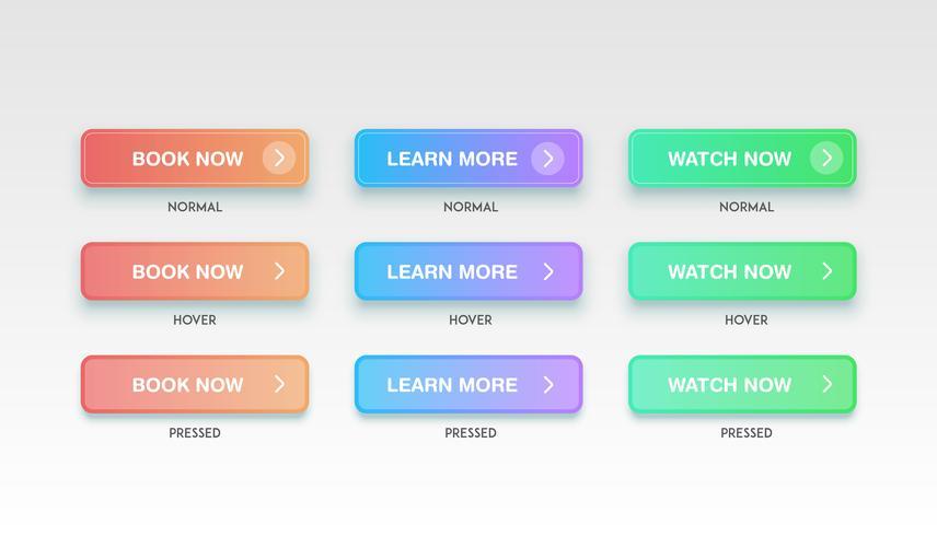 Boutons propres colorés pour sites Web, illustration vectorielle