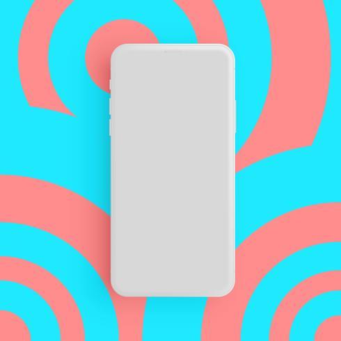 Realistisches graues Matttelefon mit buntem Hintergrund, Vektorillustration