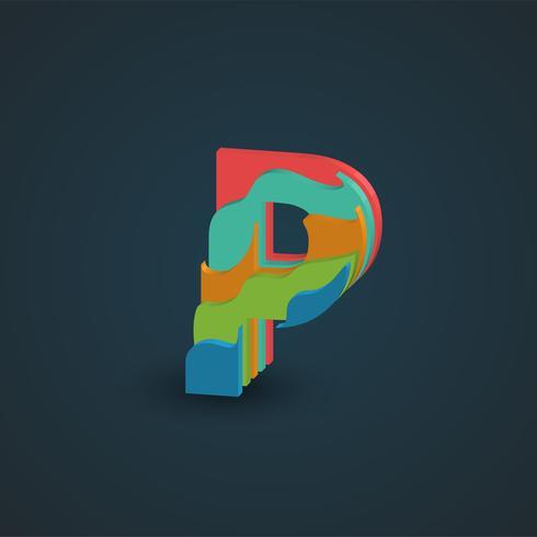 3D färgstarka skiktad karaktär från en fontset, vektor