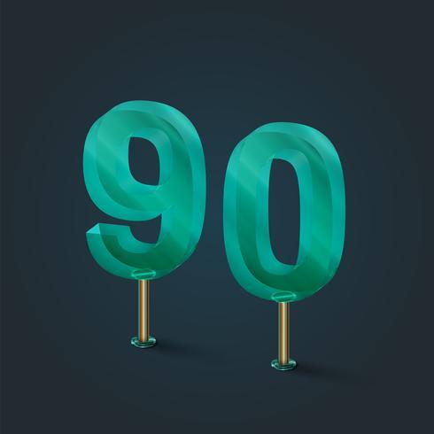 Número realizado por vidrio, vector