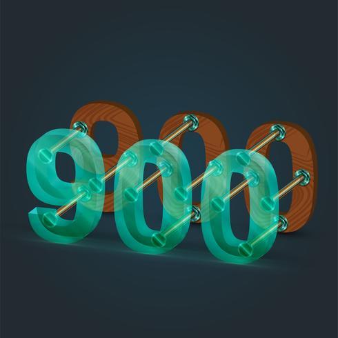 Número realizado por vidrio y madera, vector. vector