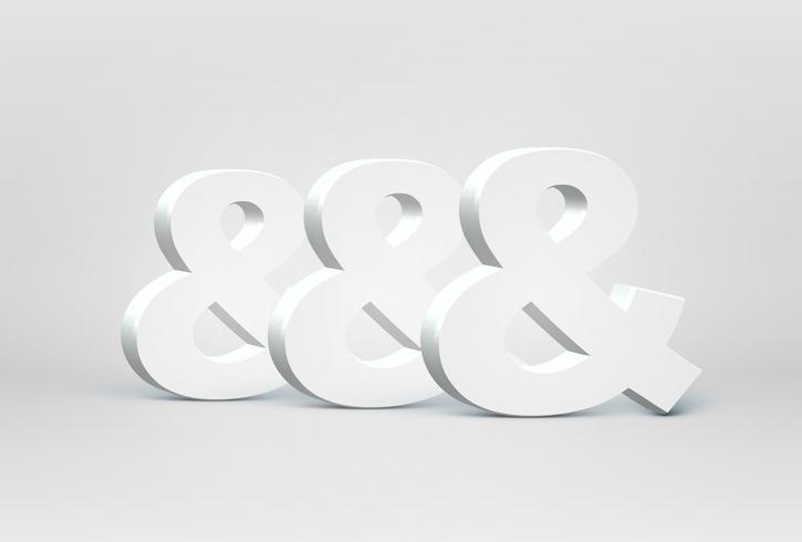 Caracteres de fuente 3D alta detallada, ilustración vectorial