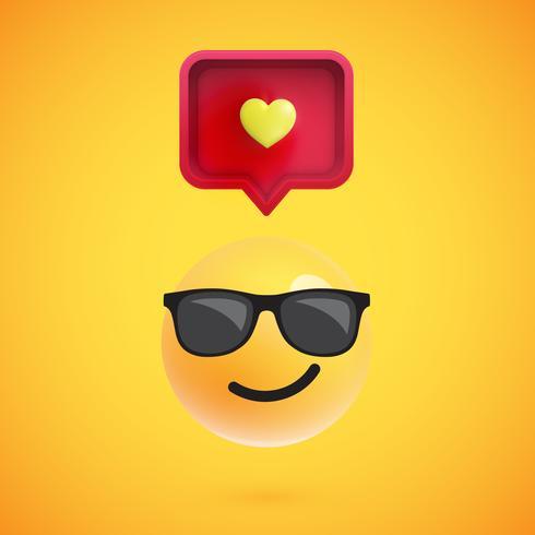 Émoticône 3D drôle avec bulle de dialogue 3D et un coeur, illustration vectorielle