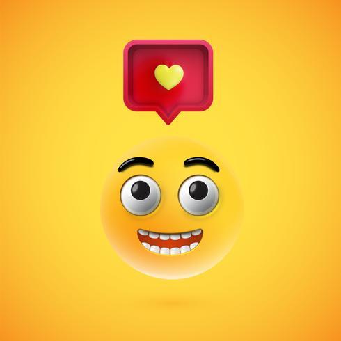Smiley detallada alta con signo de corazón 3D, ilustración vectorial