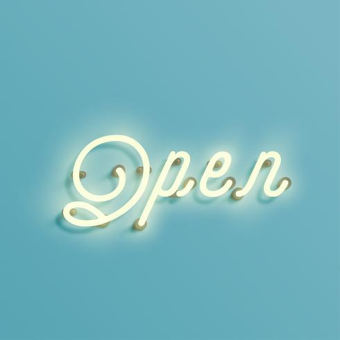 Segno al neon da un carattere tipografico, vettore