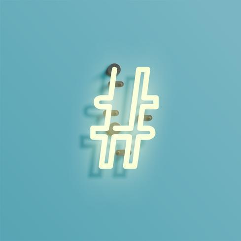 Carattere al neon realistico da un fontset, vettore