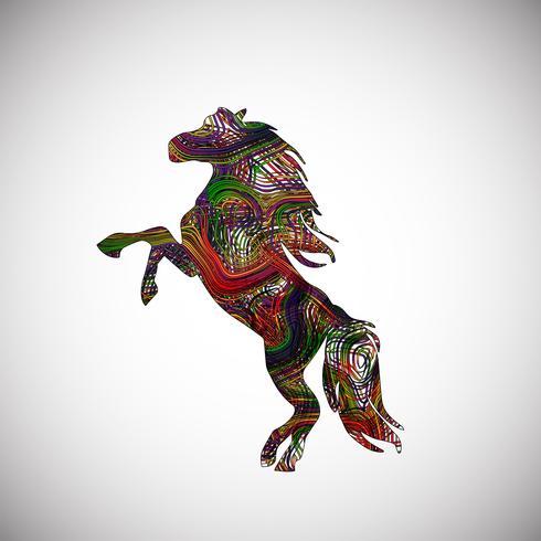 Cheval coloré faite de lignes, illustration vectorielle