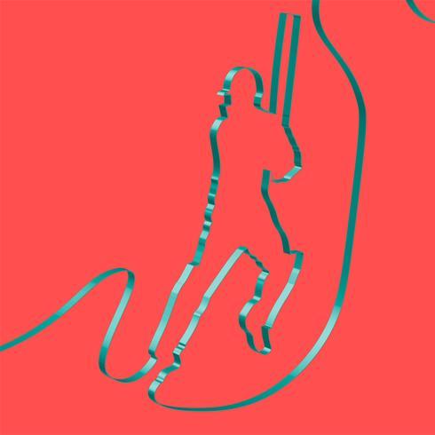 Färgglatt band formar en cricket spelare, vektor
