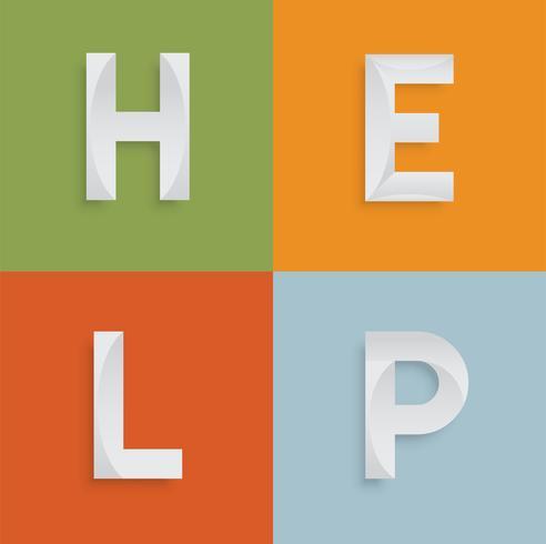 'AIUTO' una parola di quattro lettere per siti Web, illustrazione, vettore