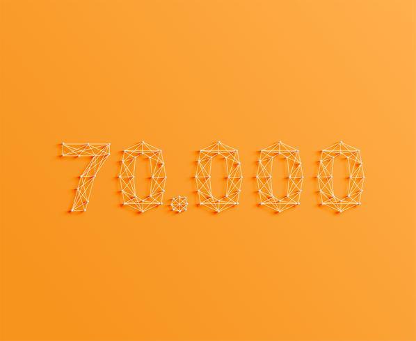 Un número hecho por pines y líneas, 3D y realista, vector.