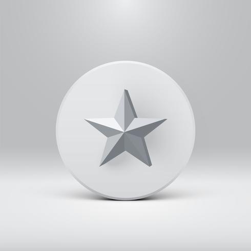 Alta estrella 3D detallada en un disco, ilustración vectorial vector