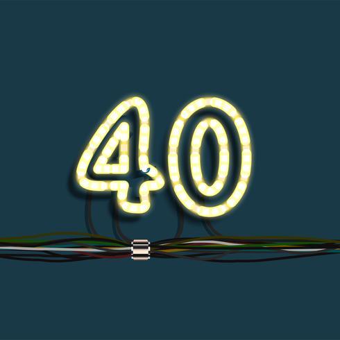 Neon garland number, vector