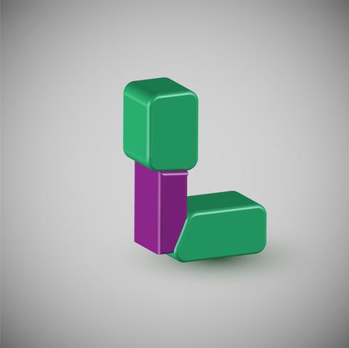Personnage coloré 3D à partir d'un type, vecteur