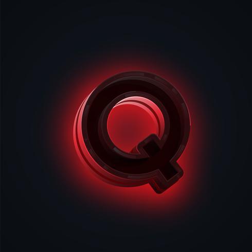 Caractère néon rouge 'CLUB' d'un jeu de polices, vecteur