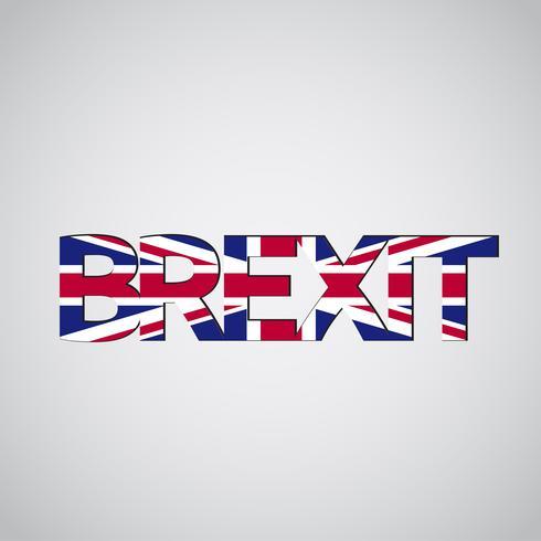 Texto de Brexit com bandeira do Reino Unido, vetor