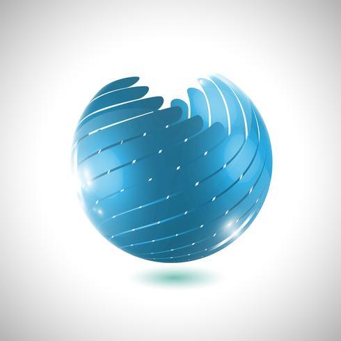 Bola de globo azul, ilustración vectorial