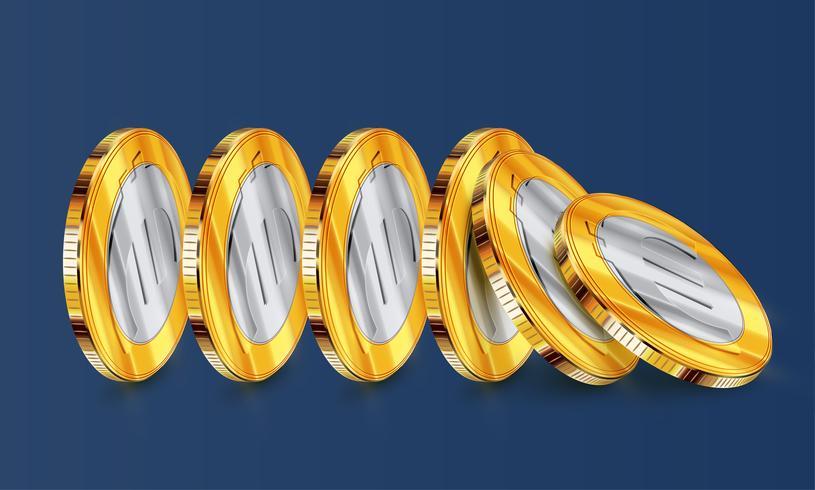 Euro two-coloured coins tumbling, vector