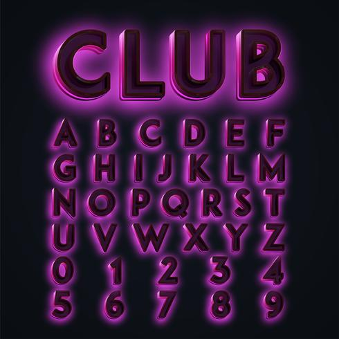 Pink 'CLUB' neon lights typeset, vector