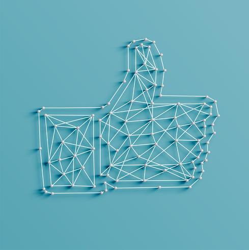Realistische illustratie van een 'like' gemaakt door pinnen en snaren, vector