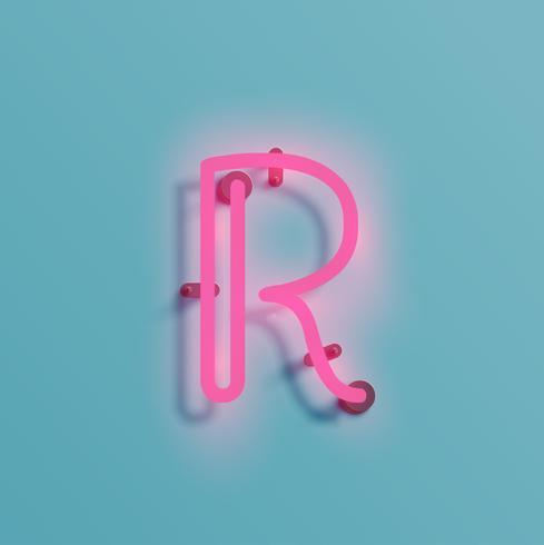 Carácter de neón realista de un vector tipográfico,