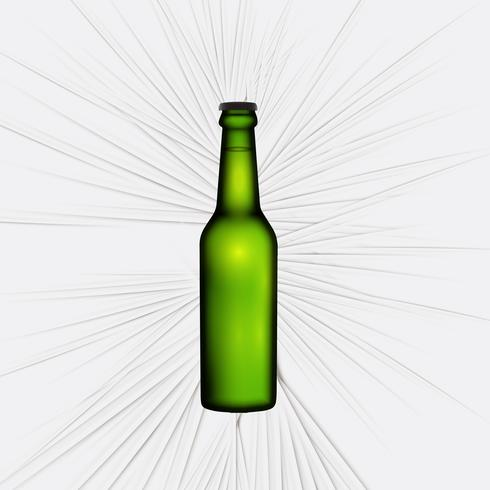 Green realistic bottle of beer, vector illustration