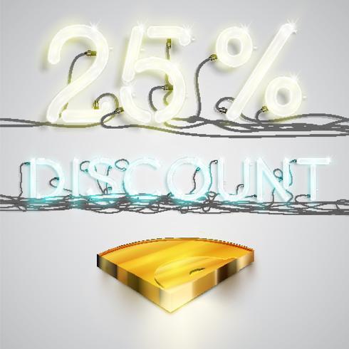 Realistic quarter coin represents discoount, vector illustration