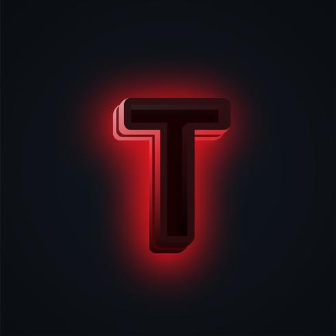 Carattere di luci al neon rosso 'CLUB' da un fontset, vettore