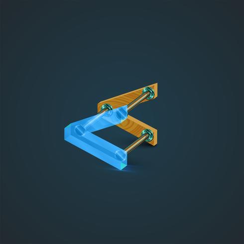 3D, carattere realistico di vetro e legno, vettore