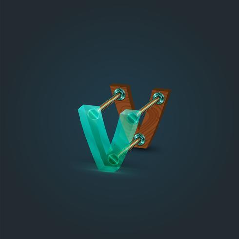 Personaje realizado por vidrio y madera, vector. vector