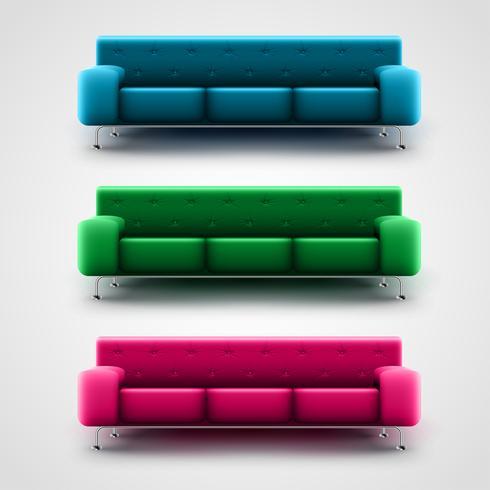 Blå, gröna och rosa soffor, vektor