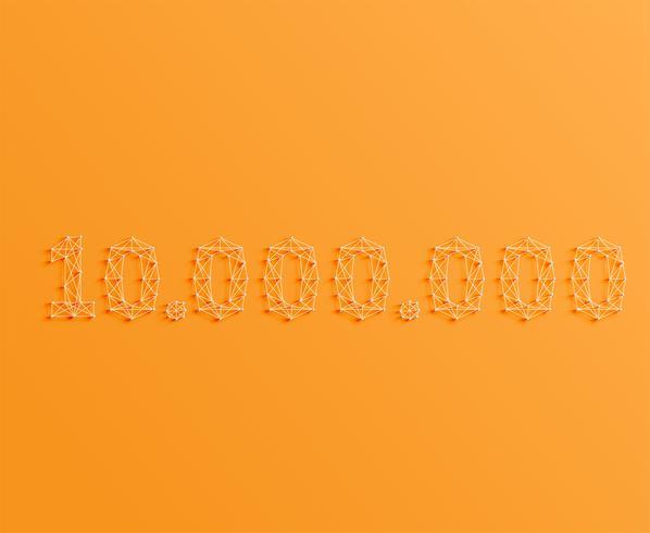 Un nombre composé de broches et de lignes, 3D et réaliste, vector